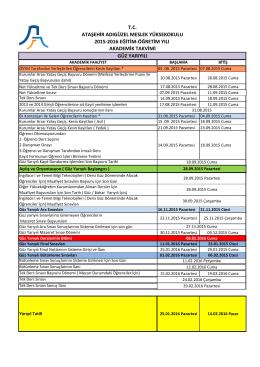 2015-2016 Güz Dönemi Akademik Takvim Çizelgesi