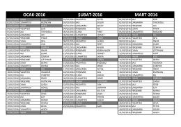 OCAK-2016 ŞUBAT-2016 MART-2016