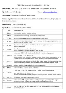 FİZ 541 (Elektromanyetik Kuram) Ders Planı – 2015 Güz Ders