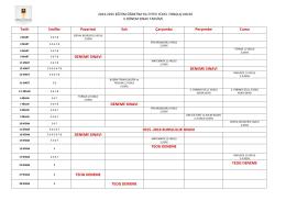 Tarih Sınıflar Pazartesi Salı Çarşamba Perşembe Cuma DENEME
