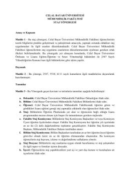 DOKUZ EYLÜL ÜNİVERSİTESİ - Celal Bayar Üniversitesi