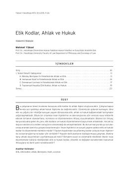 Etik Kodlar, Ahlak ve Hukuk - Hacettepe Hukuk Fakültesi Dergisi