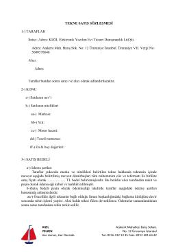 KIZIL Satış Sözleşmesi