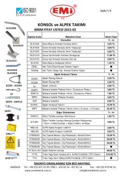 Alpek Hırdavat ve Armatür Konsolları Fiyat Listesi