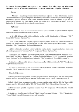 istanbul üniversitesi mezuniyet belgeleri ile diploma ve diploma