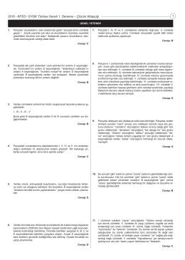 Türkiye Geneli 1. Deneme Sınavı Çözümleri