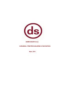 Kurumsal Yönetim İlkelerine Uyum Raporu