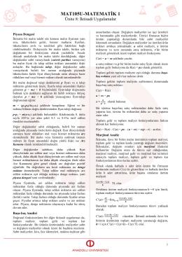 AÖF Matematik I – Ünite 8 İktisadi Uygulamalar