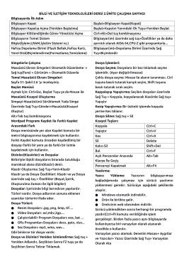 Bilgi ve İletişim Teknolojisi Dersi Çalışma Notu