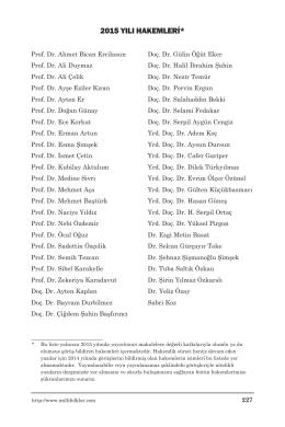 2015 yılı hakemleri