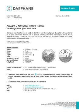 Ankara / Nevşehir Hatıra Parası - Darphane ve Damga Matbaası