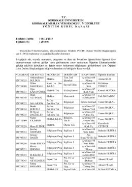 08.12.2015 Tarihli Yönetim Kurulu Kararı