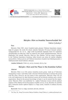 Bâciyân-ı Rûm ve Anadolu Tasavvufundaki Yeri Hatice Çubukçu