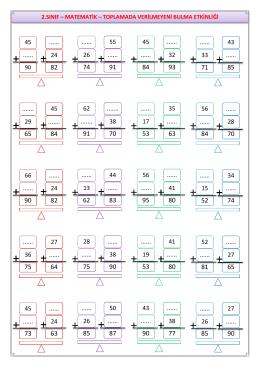 Matematik – Toplamada Verilmeyeni Bulma Etkinliği