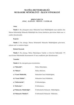 Muhasebe Müdürlüğü - Manisa Defterdarlığı