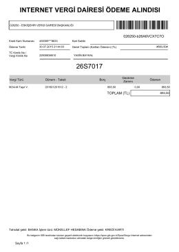 ınternet vergi dairesi ödeme alındısı 26s7017