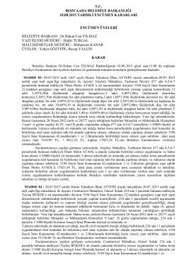 10.08.2015 Encümen Kararları - Bozcaada Belediye Başkanlığı