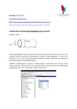 laminer boru akışının ansys workbench 15.0 ile analizi