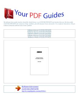 Kullanma talimati ZANUSSI ZWF265W