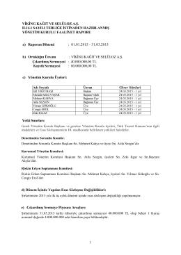 2015 3A - Faaliyet Raporu