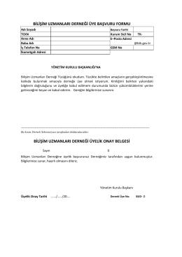 Üyelik Formu - Bilişim Uzmanları Derneği