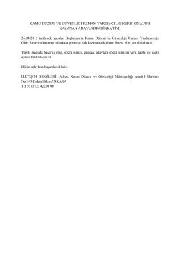 KDG Uzman Yardımcılığı Yazılı Sınav Sonuçları Listesi