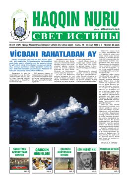 """""""Haqqın nuru"""" № 22 (267) 19 - 25 iyun 2015"""