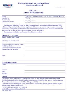 İç tesisat ve servis hatları sertifikası vize başvuru dilekçesi