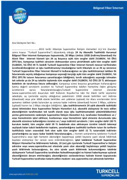 Antalya`ya Özel Fiber İnternet Kampanyası Taahhütnamesi