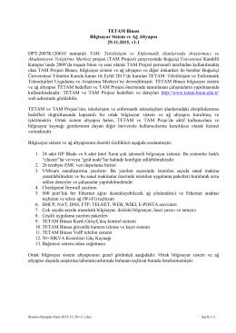 TETAM Binası Bilgisayar Sistem ve Ağ Altyapısı 29.11.2015, v1.1