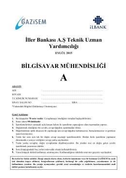 BİLGİSAYAR MÜHENDİSLİĞİ - İller Bankası Genel Müdürlüğü