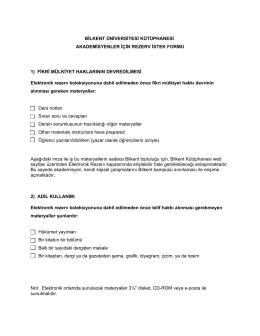Elektronik Rezerv İstek Formu