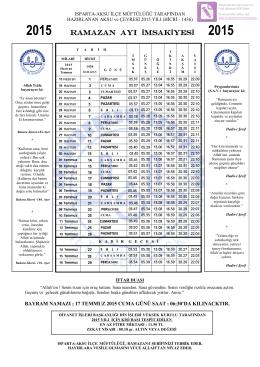 2015 ramazan ayı imsakiyesi 2015
