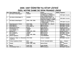 2006 / 2007 öğretim yılı kitap listesi özel notre dame de sion fransız