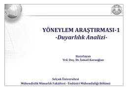 YÖNEYLEM ARAŞTIRMASI-1 -Duyarlılık Analizi-