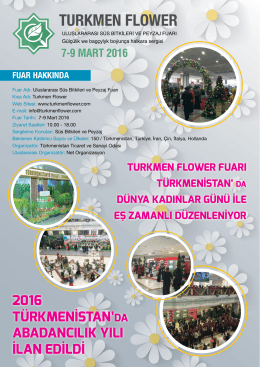 7-9 MART 2016 - Turkmen Flower Fair