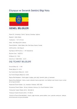 Etiyopya ve Seramik Sektörü Bilgi Notu GENEL BİLGİLER