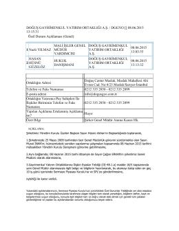 08.06.2015 Şirket Genel Müdür Atama Kararı Hakkında