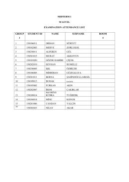 mıdterm 1 m level examınatıon attendance lıst group 1 student ıd