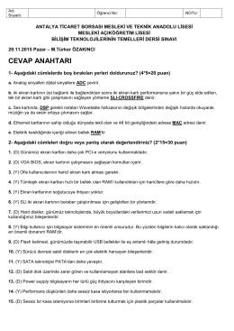 aol btt sınav 01 – CEVAPLAR