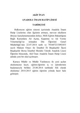Tarihçe - Akif İnan Anadolu İmam Hatip Lisesi