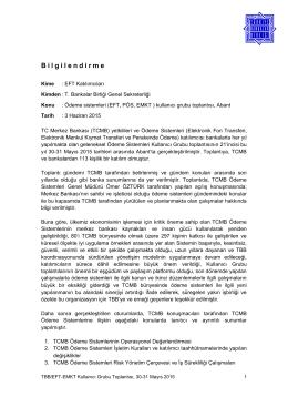 29-31 Mayıs 2015 Ödeme Sistemleri Kullanıcı Grubu Toplantısı