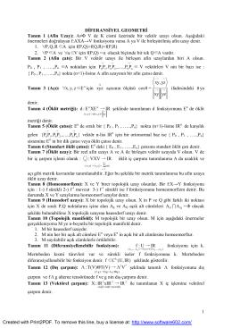 1 DİFERANSİYEL GEOMETRİ Tanım 1 (Afin Uzay): A≠Φ V de K