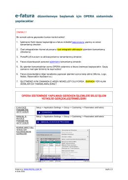 e-Fatura OPERA Geçişi - Protel E