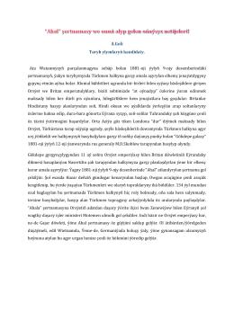 Ata Watanmyzyň parçalanmagyna sebäp bolan 1881-nji ıylyň 9
