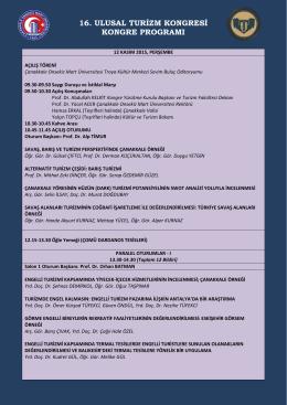 16. ulusal turizm kongresi kongre programı