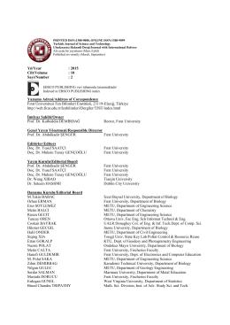 2 Yazışma Adresi/Address of Corespondence Fırat Üniversitesi Fen