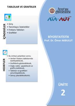 frekans tabloları - Atatürk Üniversitesi Açıköğretim Fakültesi