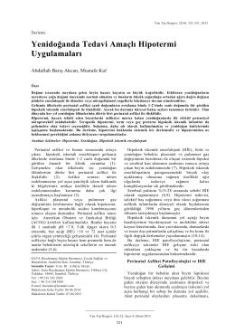 Yenidoğanda Tedavi Amaçlı Hipotermi Uygulamaları