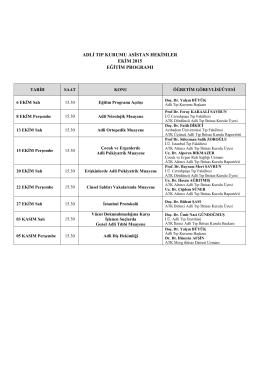 Ekim 2015 Asistan Eğitim Programı